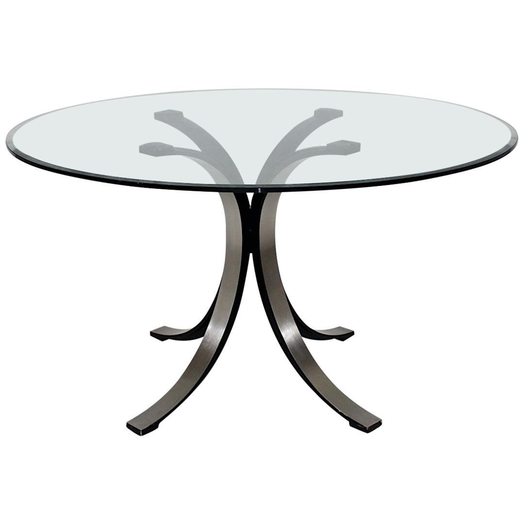 Mid-Century Modern Vintage Glass Metal Dining Table Osvaldo Borsani Tecno, Italy
