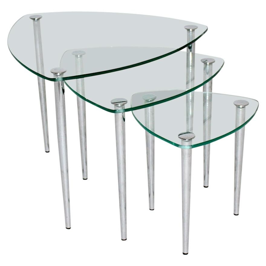 Mid-Century Modern Vintage Glass Metal Nesting Tables / Sofa Tables Italy 1960s