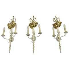 Mid-Century Modern Vintage Gold White Three Metal Sconces with Masks Italy 1940s