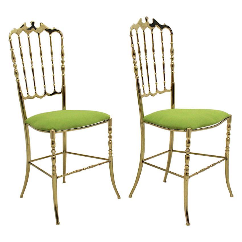 Mid-Century Modern Vintage Golden Brass Chiavari Side Chairs, 1950s, Italy
