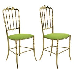 Mid-Century Modern Vintage Golden Brass Chiavari Side Chairs, 1950s, Italy
