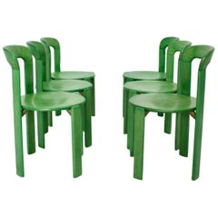 Mid-Century Modern Vintage Green Beech Dining Chairs Bruno Rey 1970s Set of Six