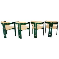 Mid-Century Modern Vintage Green Dining Chairs Pamplona Augusto Savini, Italy