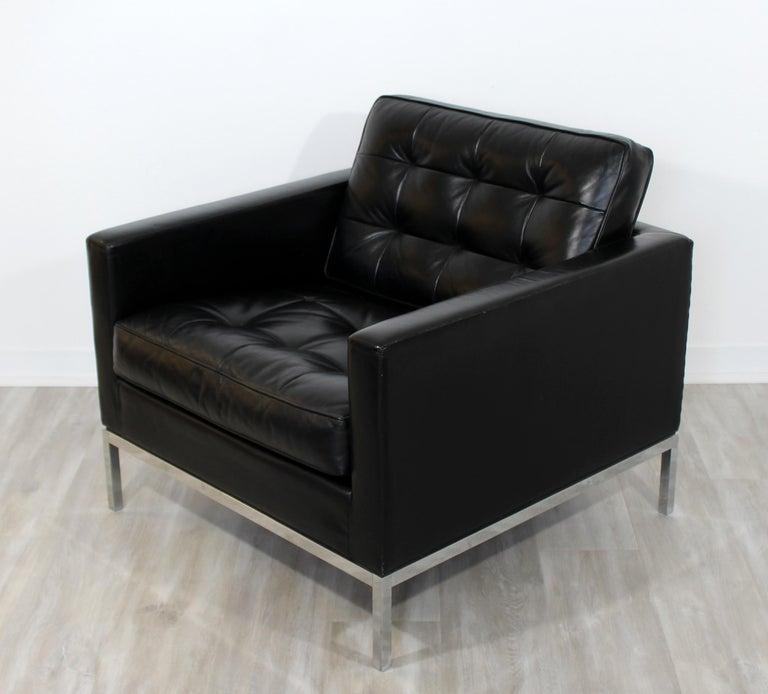Mid Century Modern Vintage Knoll Chrome Sofa and Armchair Black ...
