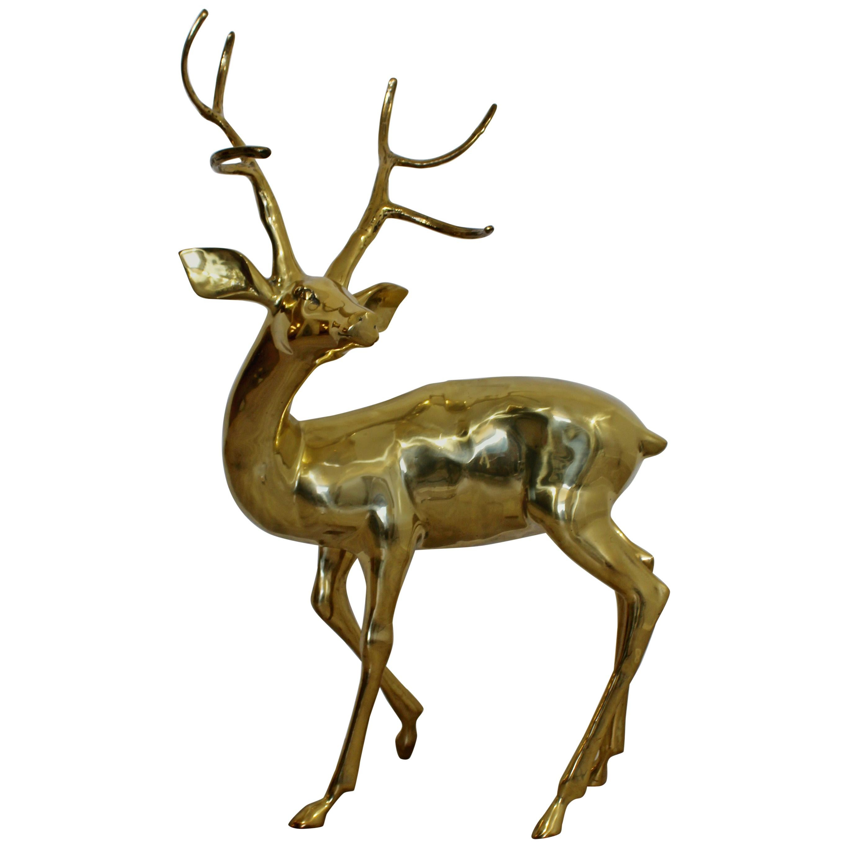 Mid-Century Modern Vintage Large Decorative Brass Deer Stag Floor Sculpture