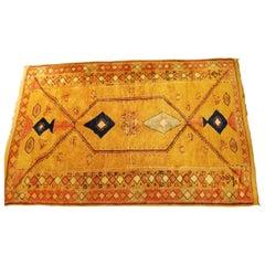 Mid-Century Modern Vintage Moroccan Rectangular Multi Level Wool Area Rug, 1970s