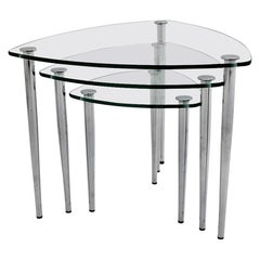 Mid-Century Modern Vintage Nesting Tables Glass Chrome, Italy, 1960s
