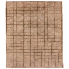 Mid-Century Modern Vintage Oushak Carpet, Minimalist Design