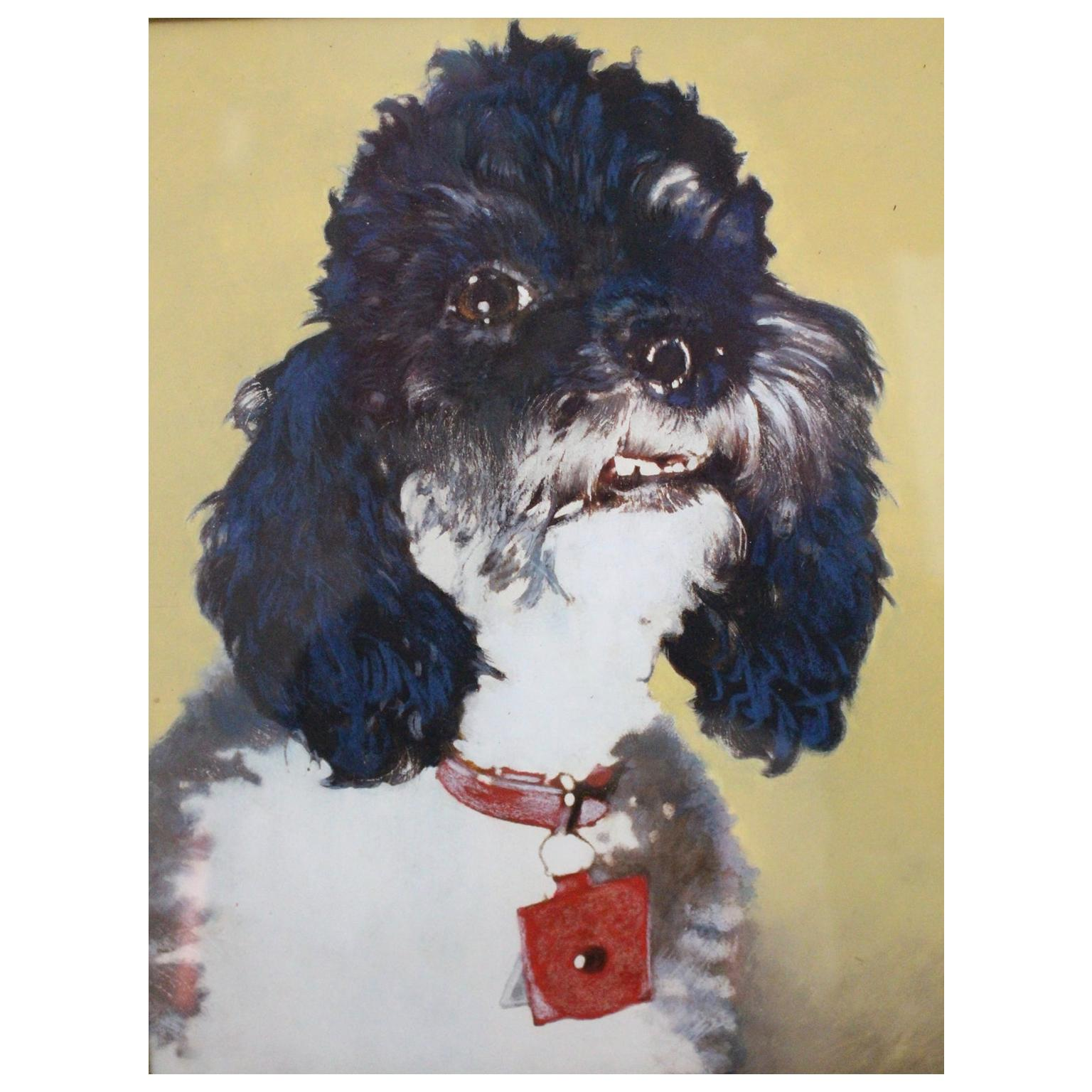 Mid-Century Modern Vintage Painting with Poodle Motif, circa 1950