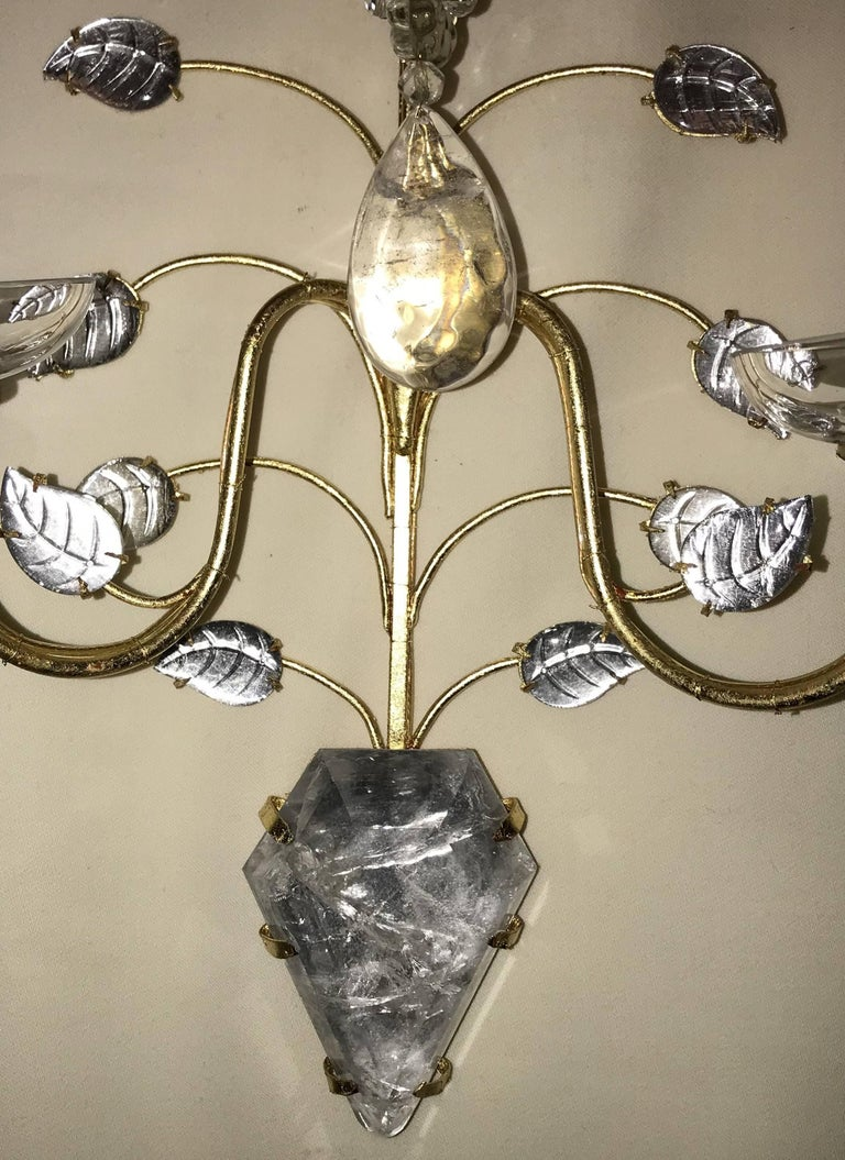 Italian Mid-Century Modern Vintage Pair of Baguès Rock Crystal Gold Gilt Flower Sconces For Sale