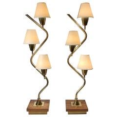 Mid-Century Modern Vintage Pair of Serpentine Table Lamps