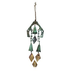 Mid-Century Modern Vintage Paolo Soleri Large Bronze Chimes Bells, Italy
