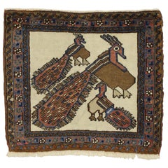 Mid-Century Modern Vintage Persian Rug with Peacocks, Tapestry Wall Hanging