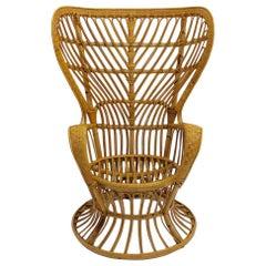 Mid-Century Modern Vintage Rattan Armchair Style Gio Ponti 1950s Up to Six