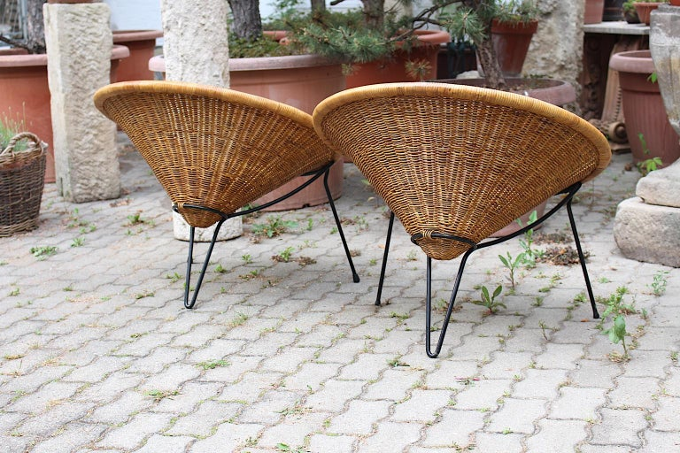Mid Century Modern Vintage Rattan Garden Chairs by Roberto Mango, Italy, 1950s For Sale 4