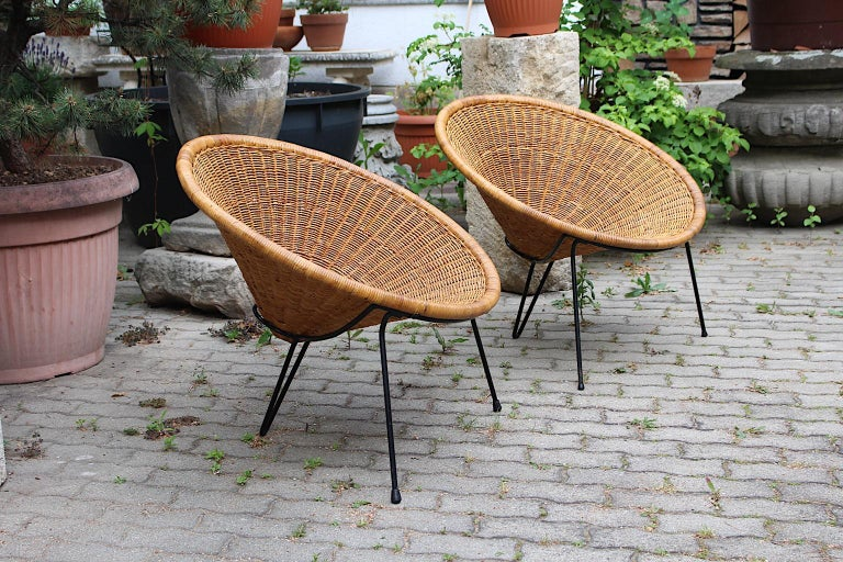 Mid Century Modern Vintage Rattan Garden Chairs by Roberto Mango, Italy, 1950s For Sale 5
