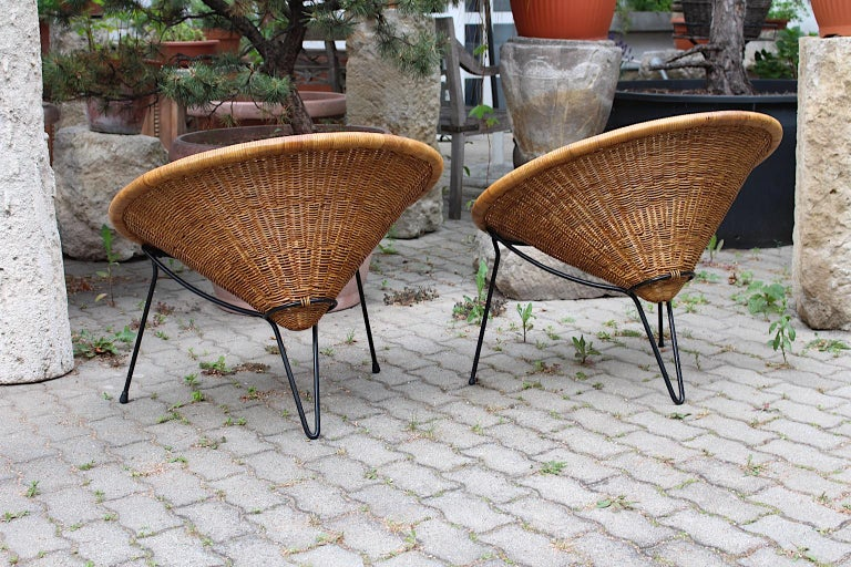 Mid Century Modern Vintage Rattan Garden Chairs by Roberto Mango, Italy, 1950s For Sale 6