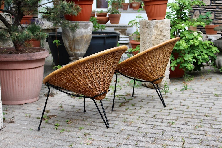 Mid Century Modern Vintage Rattan Garden Chairs by Roberto Mango, Italy, 1950s For Sale 7