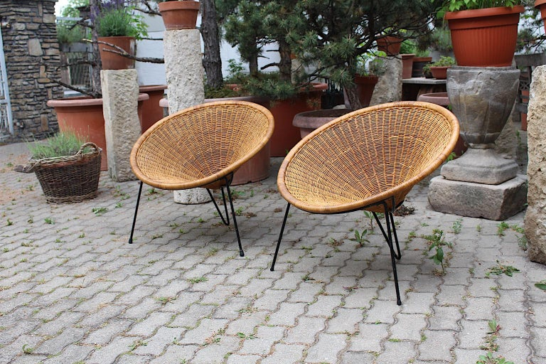 Mid Century Modern Vintage Rattan Garden Chairs by Roberto Mango, Italy, 1950s For Sale 8