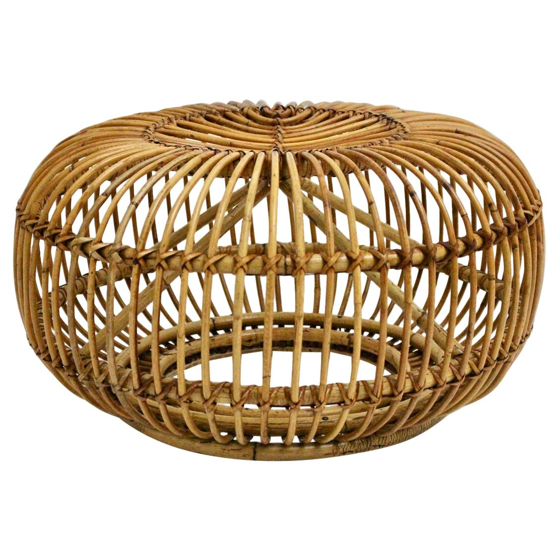 Mid-Century Modern Vintage Rattan Pouf in the Style of Albini 1960s