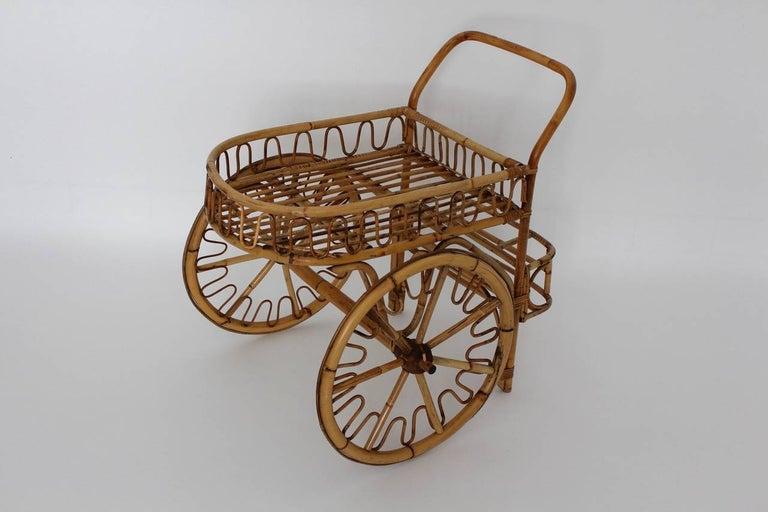 Mid-20th Century Mid-Century Modern Vintage Rattan Wicker Patio Garden Bar Cart, 1950s, Italy For Sale