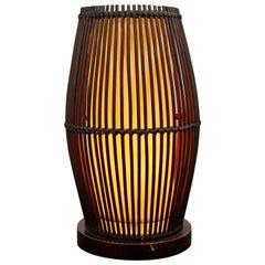 Mid-Century Modern Vintage Rattan Wood Uplight Table Lamp, 1960s-1970s