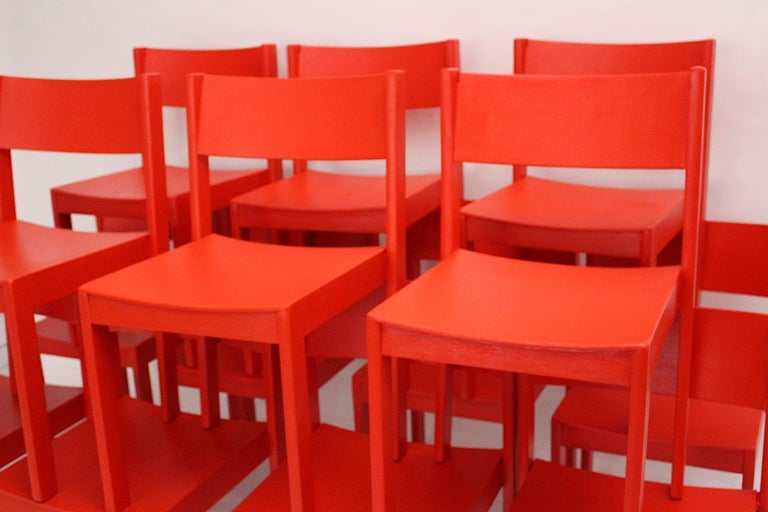 Mid-Century Modern Vintage Red Beech Dining Room Chairs 1950s Vienna Austria For Sale 5