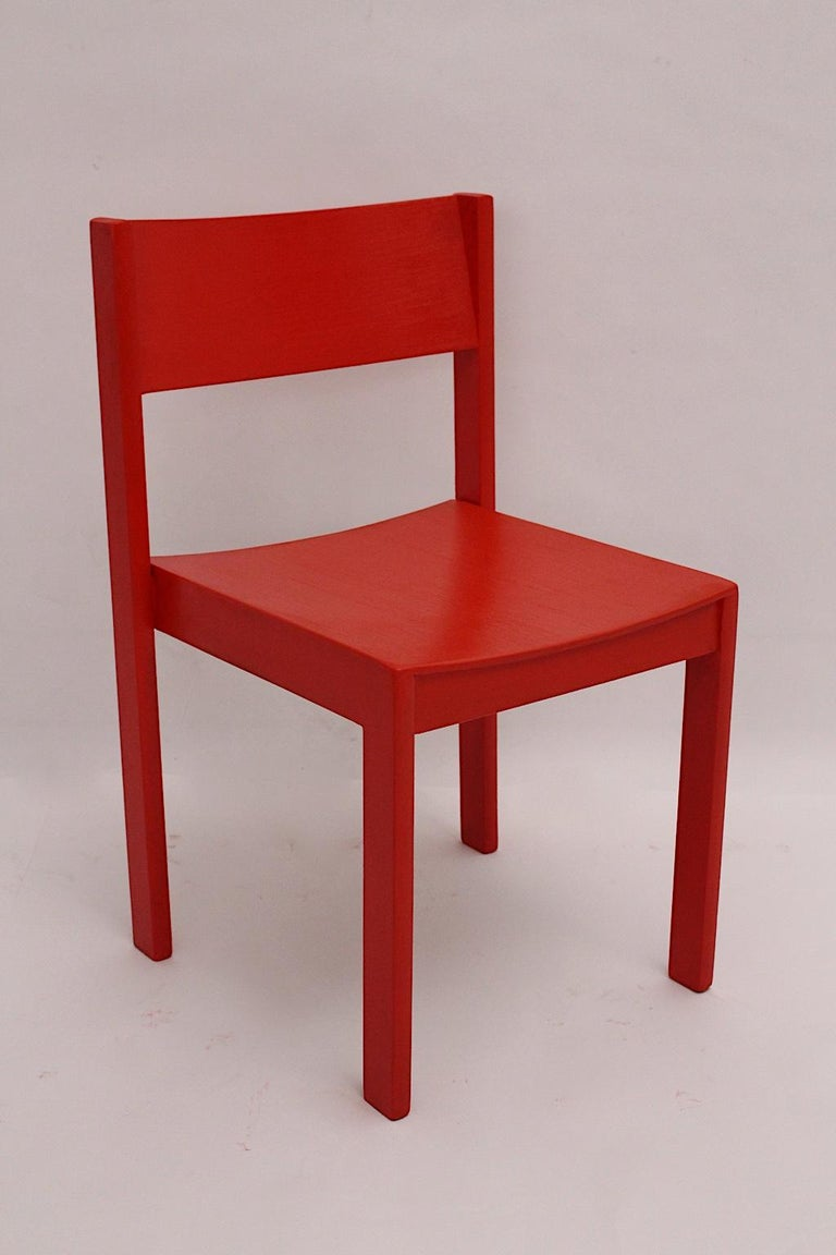 Mid-Century Modern Vintage Red Beech Dining Room Chairs 1950s Vienna Austria For Sale 6