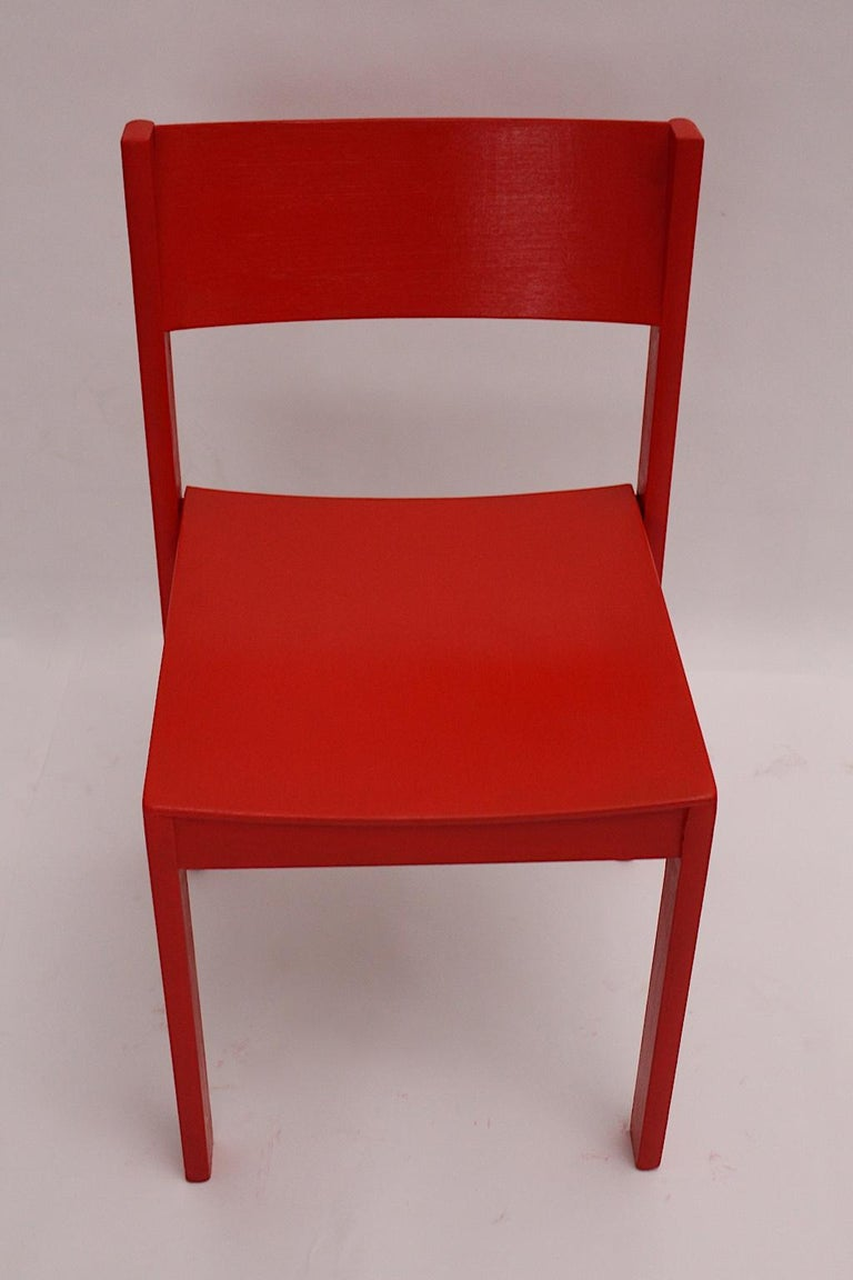 Mid-Century Modern Vintage Red Beech Dining Room Chairs 1950s Vienna Austria For Sale 7