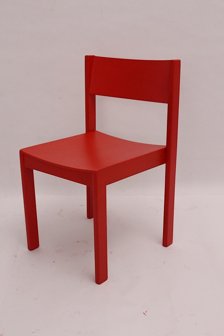 Mid-Century Modern Vintage Red Beech Dining Room Chairs 1950s Vienna Austria For Sale 8