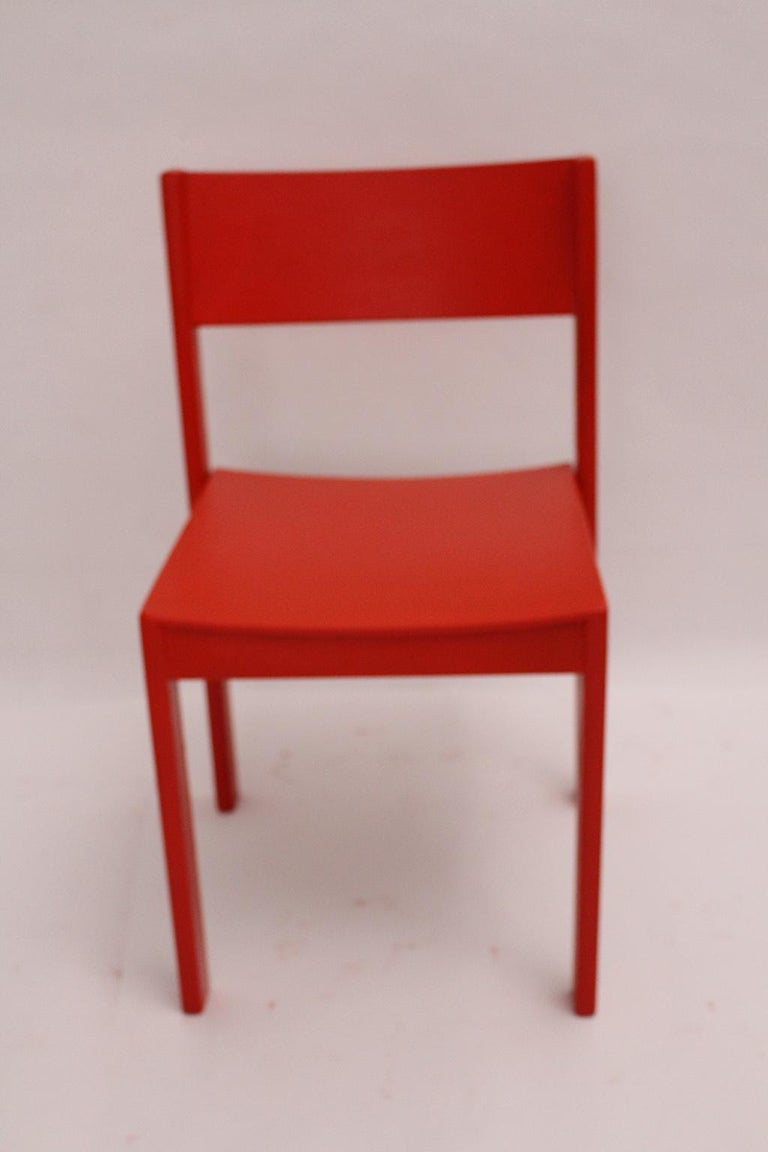 Mid-Century Modern Vintage Red Beech Dining Room Chairs 1950s Vienna Austria For Sale 9