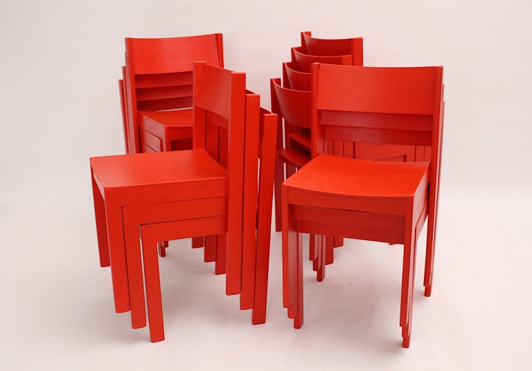 Austrian Mid-Century Modern Vintage Red Beech Dining Room Chairs 1950s Vienna Austria For Sale