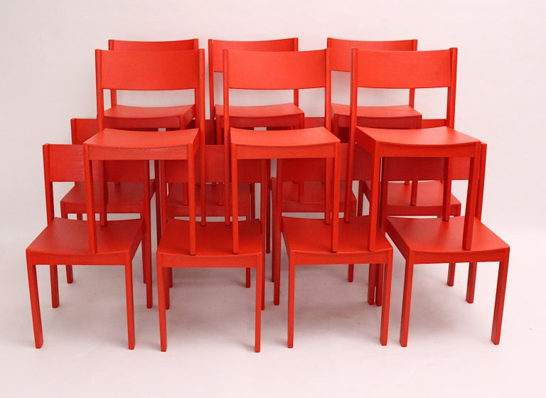 Mid-Century Modern Vintage Red Beech Dining Room Chairs 1950s Vienna Austria In Good Condition For Sale In Vienna, AT