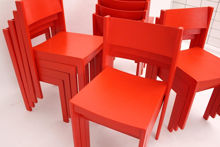 Mid-20th Century Mid-Century Modern Vintage Red Beech Dining Room Chairs 1950s Vienna Austria For Sale