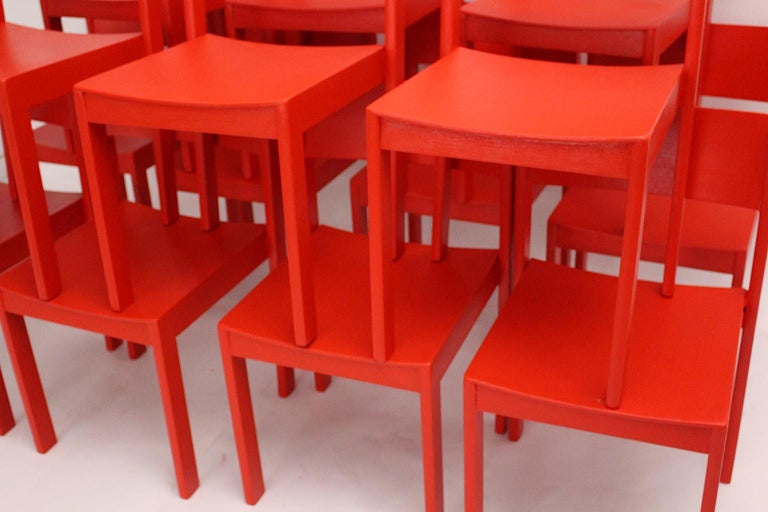 Mid-Century Modern Vintage Red Beech Dining Room Chairs 1950s Vienna Austria For Sale 4