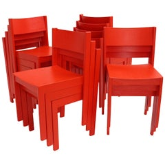 Mid-Century Modern Vintage Red Beech Dining Room Chairs 1950s Vienna Austria