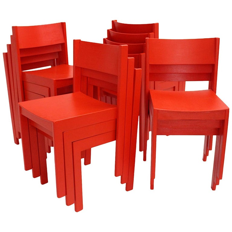 Mid-Century Modern Vintage Red Beech Dining Room Chairs 1950s Vienna Austria For Sale