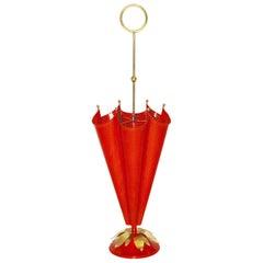 Mid-Century Modern Vintage Red Brass Umbrella Stand Attr Mathieu Matégot, 1950s