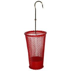 Mid-Century Modern Vintage Red Brass Umbrella Stand Mathieu Matégot 1950s France