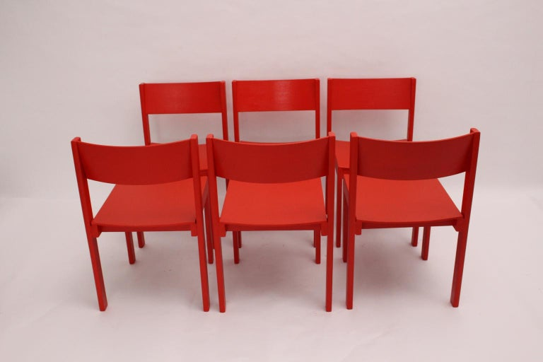 Mid-Century Modern Vintage Red Dining Room Chairs Carl Auböck, 1956, Vienna For Sale 5
