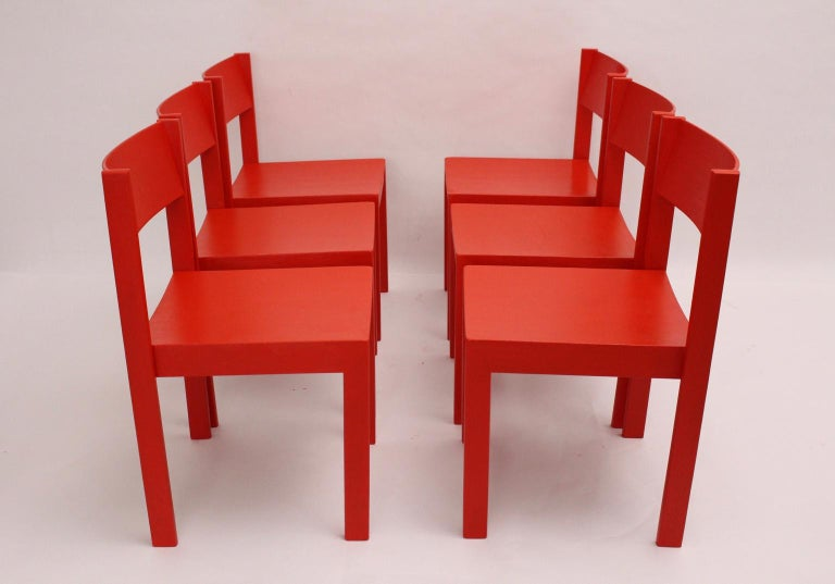 Mid-Century Modern Vintage Red Dining Room Chairs Carl Auböck, 1956, Vienna For Sale 6