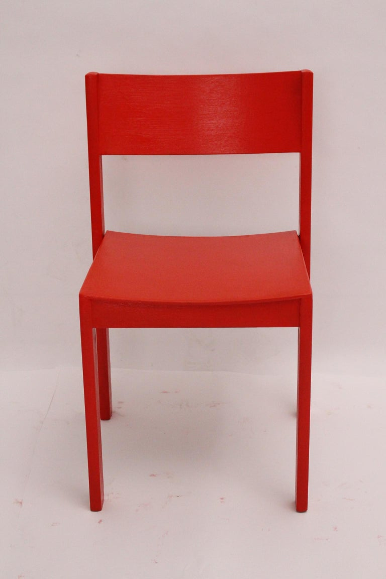 Mid-Century Modern Vintage Red Dining Room Chairs Carl Auböck, 1956, Vienna For Sale 8