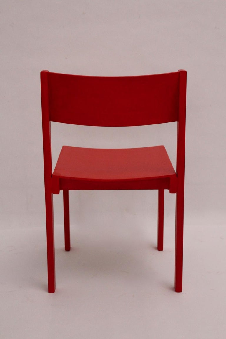 Mid-Century Modern Vintage Red Dining Room Chairs Carl Auböck, 1956, Vienna For Sale 10