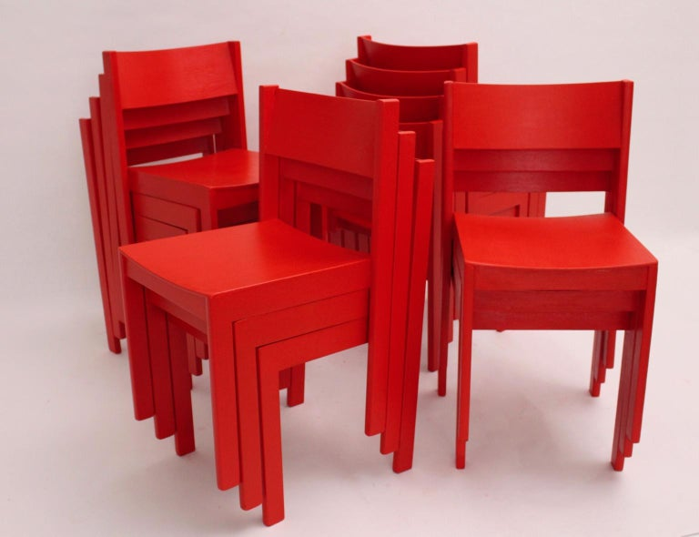 Mid-20th Century Mid-Century Modern Vintage Red Dining Room Chairs Carl Auböck, 1956, Vienna For Sale