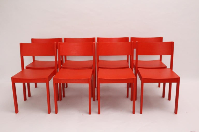 Mid-Century Modern Vintage Red Dining Room Chairs Carl Auböck, 1956, Vienna For Sale 1
