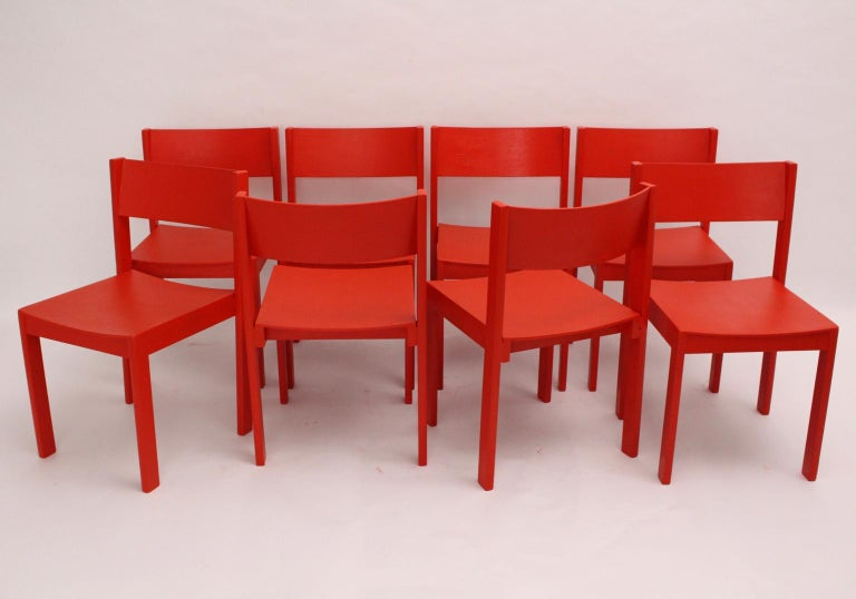 Mid-Century Modern Vintage Red Dining Room Chairs Carl Auböck, 1956, Vienna For Sale 2