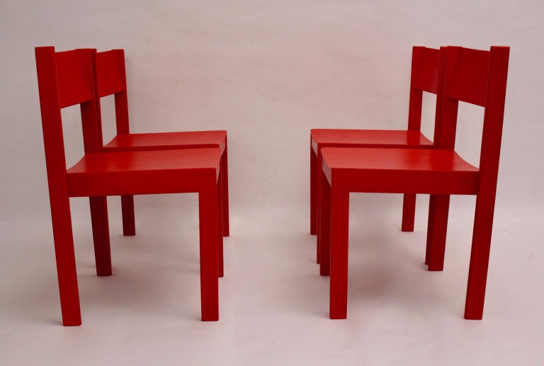 Mid-Century Modern Vintage Red Dining Room Chairs Carl Auböck, 1956, Vienna For Sale 4