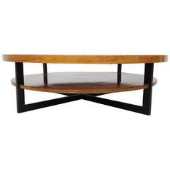 Mid-Century Modern Vintage Rosewood, Teak and Metal Round Coffee Table, 1960s