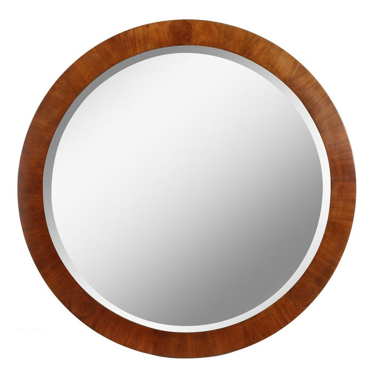 Mid-Century Modern Vintage Round Baker Wood Mirror In Good Condition For Sale In Locust Valley, NY