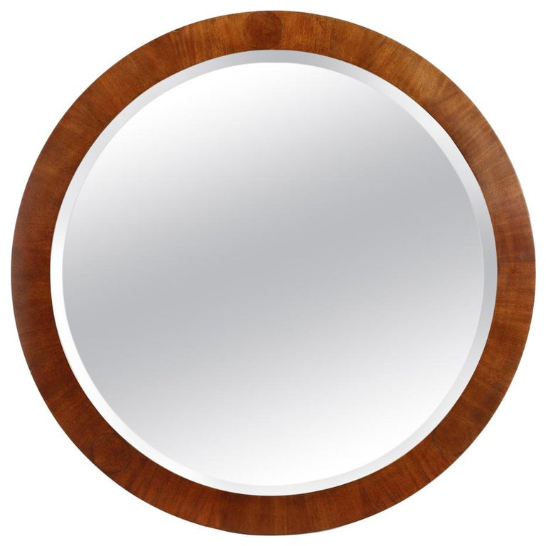 Mid-Century Modern Vintage Round Baker Wood Mirror For Sale